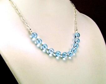 Blue Topaz Sterling Silver Necklace - N332