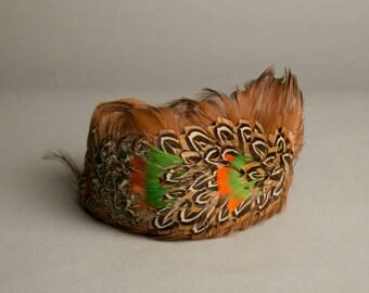 Vintage Feathered Toque Hat Handmade Fascinator Millinery Orange Green Brown
