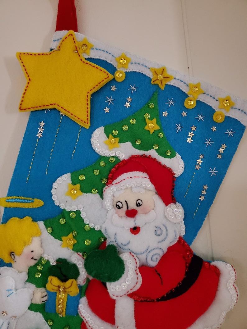 FINISHED Bucilla Stocking Santa/'s Gifts To Angel
