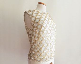 1960's Beaded Scale Pattern Blouse // by House of Gold // Size Small