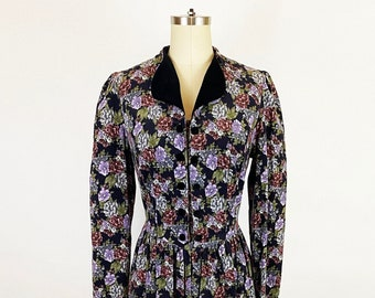 1980-1990s Laura Ashley Black Purple Rose Floral Cotton Corduroy Midi Dress Autumn Romantic Vintage 80s 90s Edwardian / Medium Large 10/12