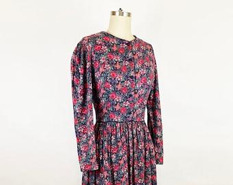 1980-1990s Laura Ashley Black Red Rose Floral Cotton Wool Midi Dress Autumn Romantic Vintage 80s 90s Prairie / Medium Large 10/12
