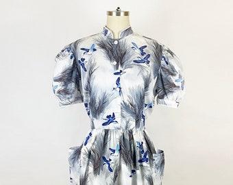 1950's Blue Bird Print Cotton Fit and Flare Shirtdress Retro Novelty Print Gray 50s Pin Up Rockabilly Cute Vintage / Size Medium 10