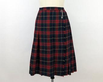 Skirt Red white zipper rocker school plaid checkered aline skater mini unique