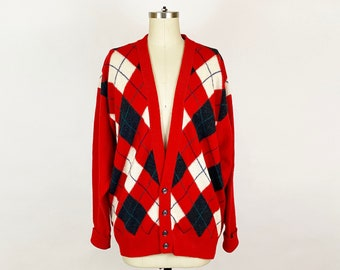 1980s Jaeger Red Gray White Argyle Wool Deep V-neck Cardigan Vintage 80s Sweater Preppy Made in Scotland / Mens Size XL