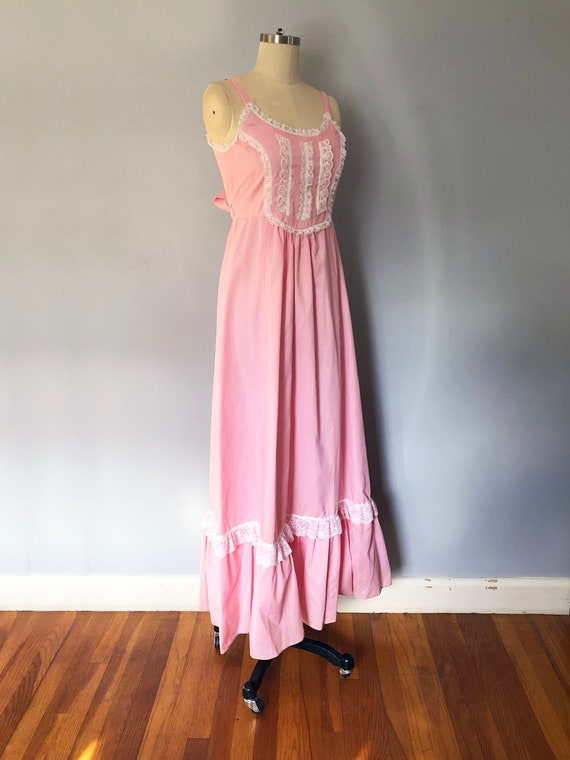 1970s Pink Swiss Dot Prairie Max Dress Quilted Ja… - image 5