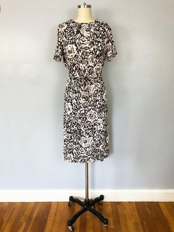 1960s Rose Print Shift Dress Black White Nylon Bow