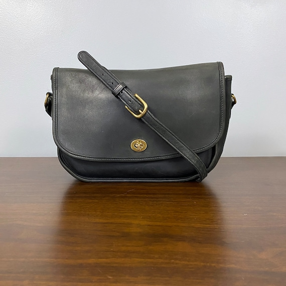 Vintage Coach City Bag Charcoal Black Leather Cros