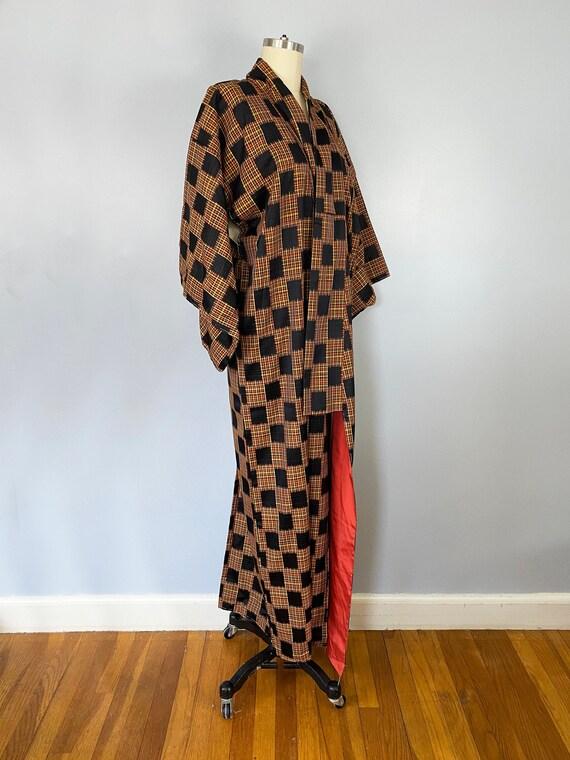Vintage Japanese Long Silk Black Orange Checkered