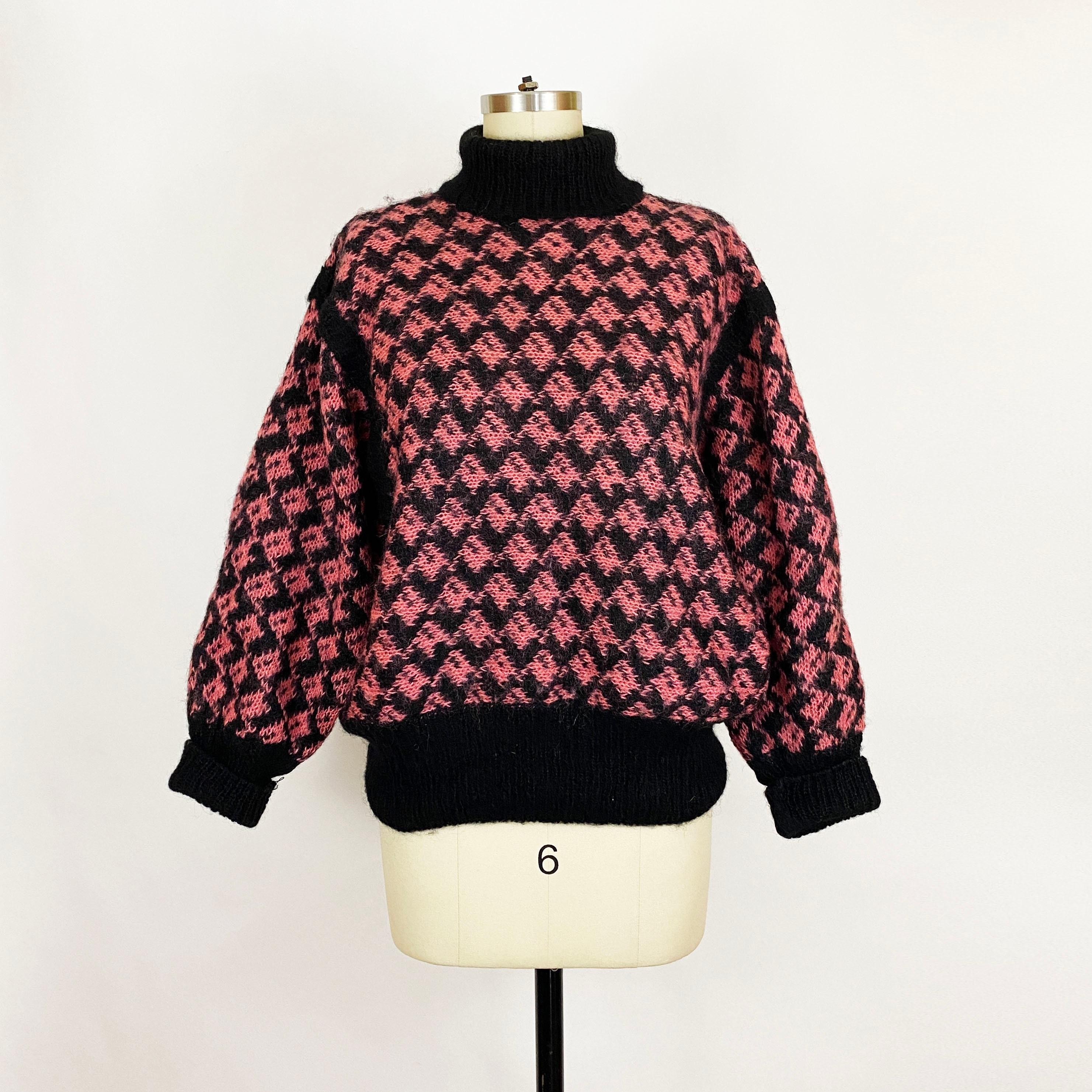 80s Sweatshirts, Sweaters, Vests | Women 1980S Black Pink Geometric Mohair Wool Turtleneck Pullover Dolman Sweater Cute 80S 90S Vintage JumperMontana Hamburg Oversized Large $50.00 AT vintagedancer.com