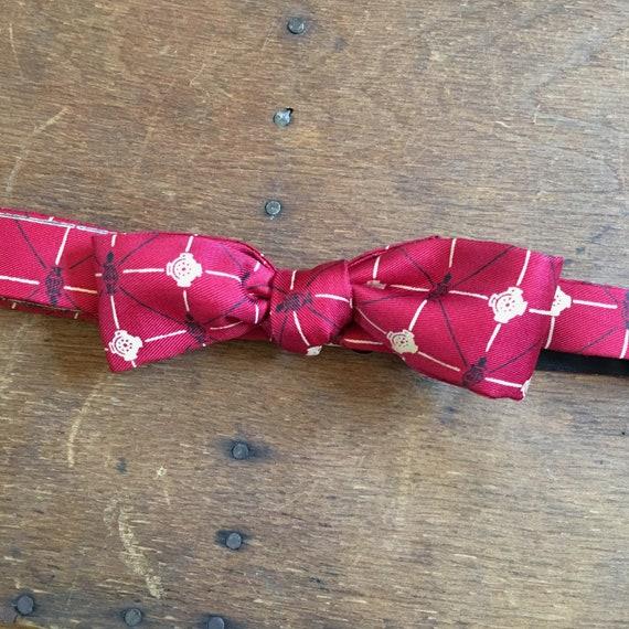 1950s Red Novelty Lantern Print Silk Bow Tie / Ret