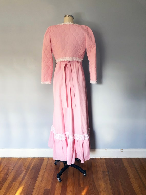 1970s Pink Swiss Dot Prairie Max Dress Quilted Ja… - image 8