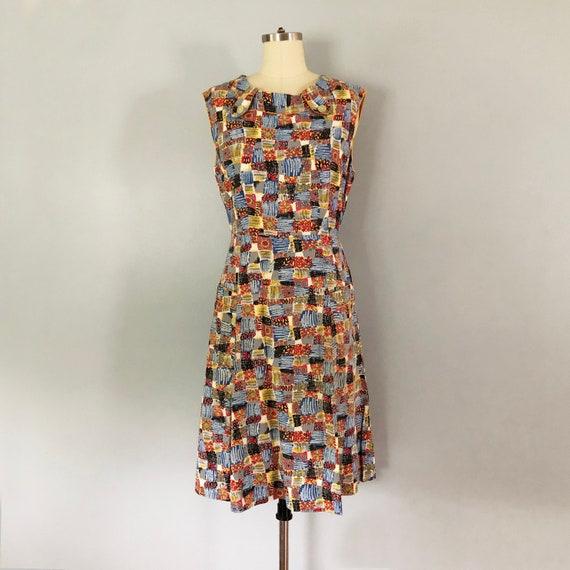 1950 Cotton Atomic Patch Print Wrap Dress / Vintag