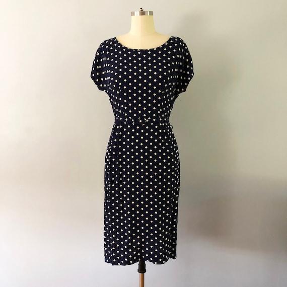 1940s White Polka Dot Shift Navy Rayon Day Dress