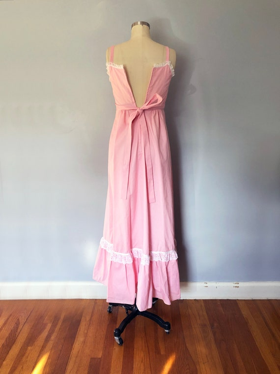 1970s Pink Swiss Dot Prairie Max Dress Quilted Ja… - image 7