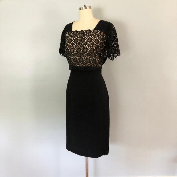 1950's Little Black Dress Illusion Neckline Lace W