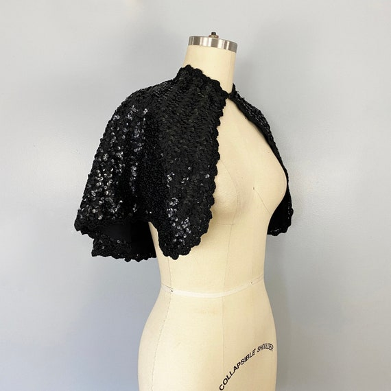 1930-1940s Black Sequin Caplet Cape Bolero Jacket