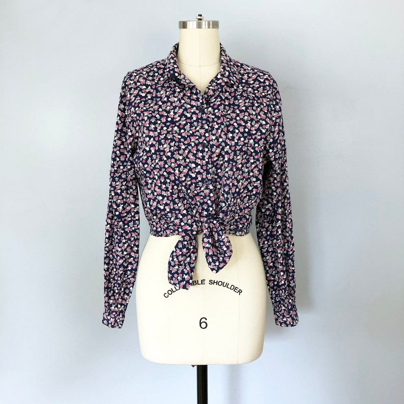 1960/'s Purple Pink Navy Blue Floral Cotton Long Sleeve Blouse  Margaret Smith  Vintage Retro Pin Up Rockabilly Oxford Button Up  Medium