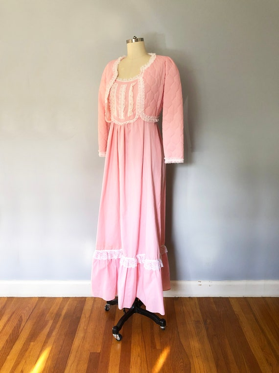 1970s Pink Swiss Dot Prairie Max Dress Quilted Jac