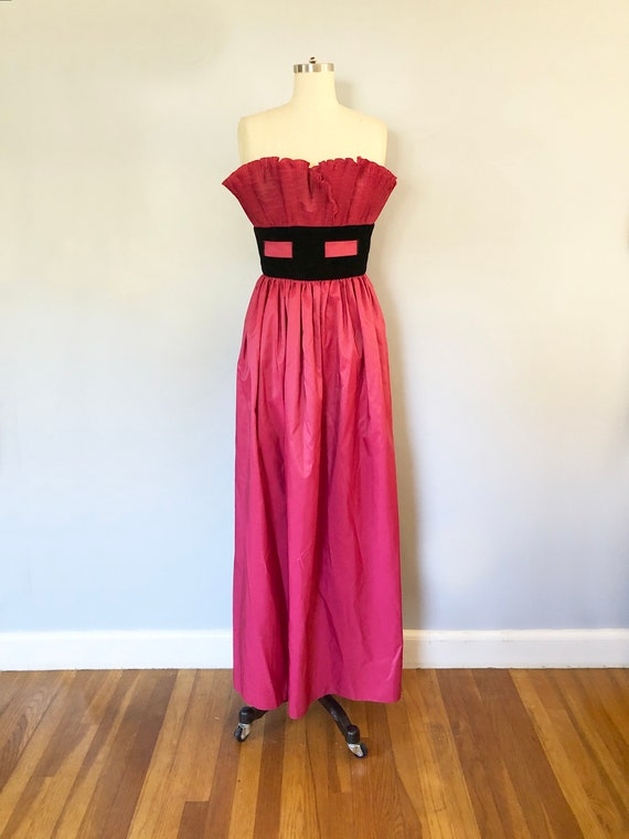 1980s Ruffle Strapless Fuchsia Rayon Formal Gown /