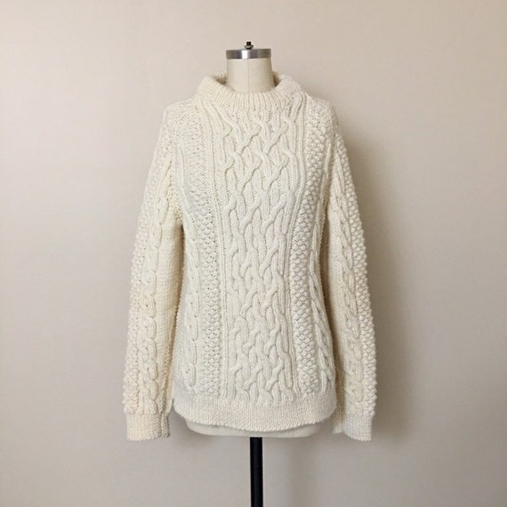 dddc1b16053c8a Vintage Cream Cable Knit Wool Fisherman Sweater   Vintage Wool
