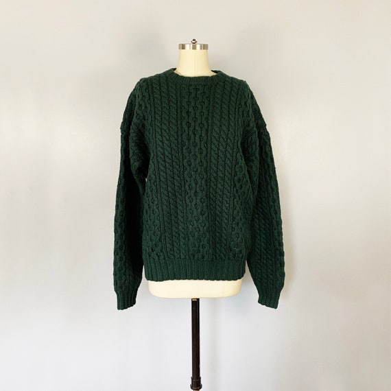 Vintage 1990s Forest Green Cable Knit Wool Fisherm