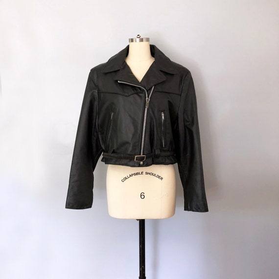 1980's Black Leather Cropped Motorcycle Jacket / V