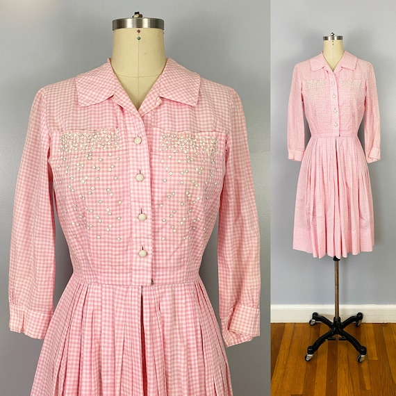 1950's Pink White Gingham Cotton Fit and Flare Day