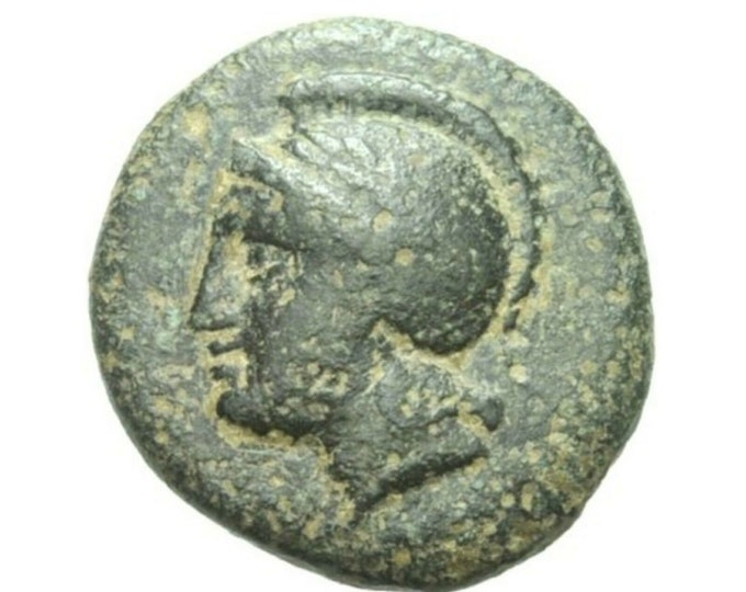 Vintage Ancient Greek Bronze Coin Mysia PERGAMON ATHENA BULL Rare