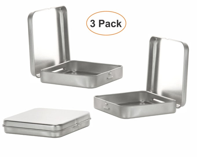 MagnaKoys® Square Silver Metal Hinged Tins 3.5 x 3.5 x .70 Inches Boxes for Candy Storage Geocaching (3-Pack)