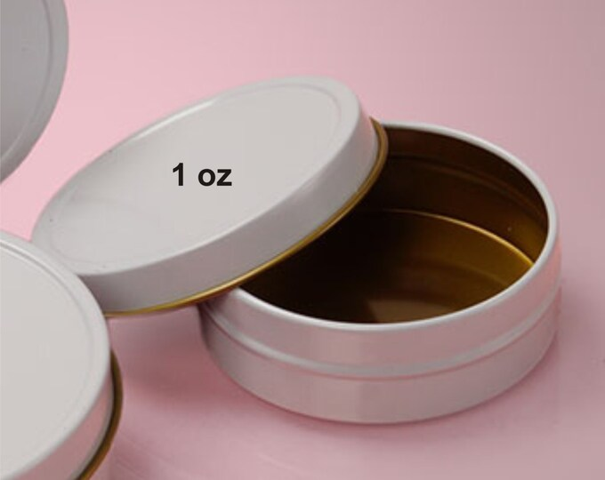 MagnaKoys Small 1 oz. Empty White Slide Top Round Tin Containers for Lip Balm, Crafts, Cosmetic, Candles, Pocket size