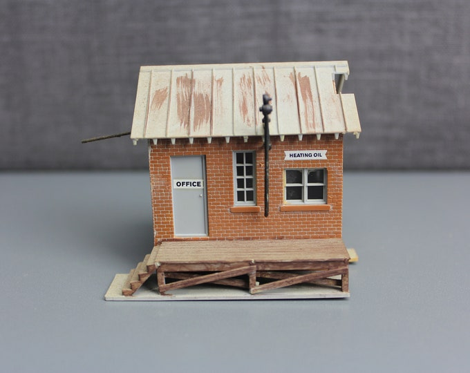 HO Scale Finished Model Office Heating Oil Business Building for your Model Train Hobby