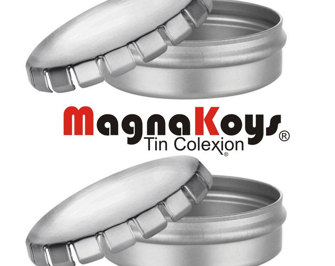MagnaKoys® Empty Round Pop Top Style Metal (Click - Clack) Tin - 1 oz Containers for Crafts (2 pieces)