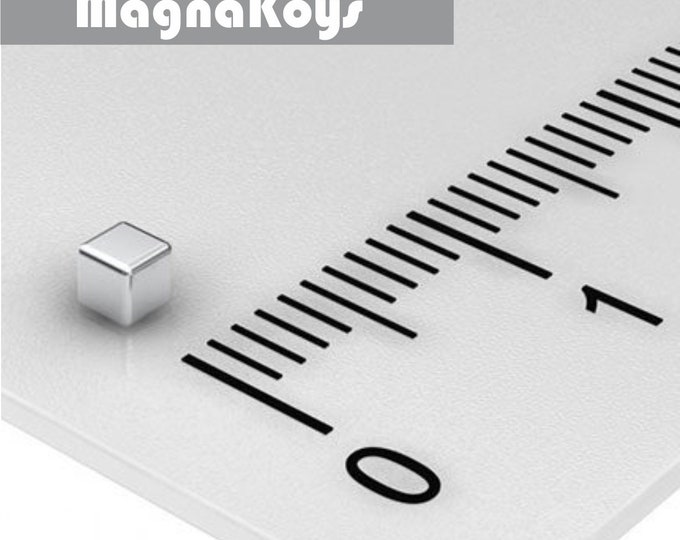 MagnaKoys®  38 pcs. 2 x 2 x 2mm (1/16 x 1/16 x 1/16 in) Neodymium Rare Earth Cube Magnets for Crafts, Geocaching, dollhouses, & Miniature