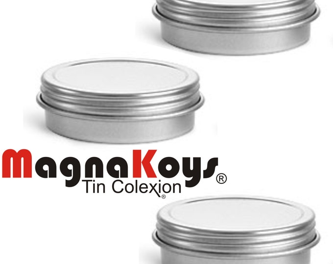 MagnaKoys® Silver Metal Tins w/ Top Lid Continuous Thread Cap craft Organizer Container 1 oz by MagnaKoys®