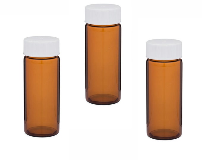 MagnaKoys 6 Dram Amber Glass Vials w/White Caps for Essential Oils & Liquids (pack of 3)
