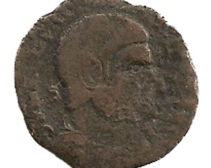 Vintage Ancient Roman Bronze Centenionalis Barbarian Coin Emperor Magnentius - 350 AD