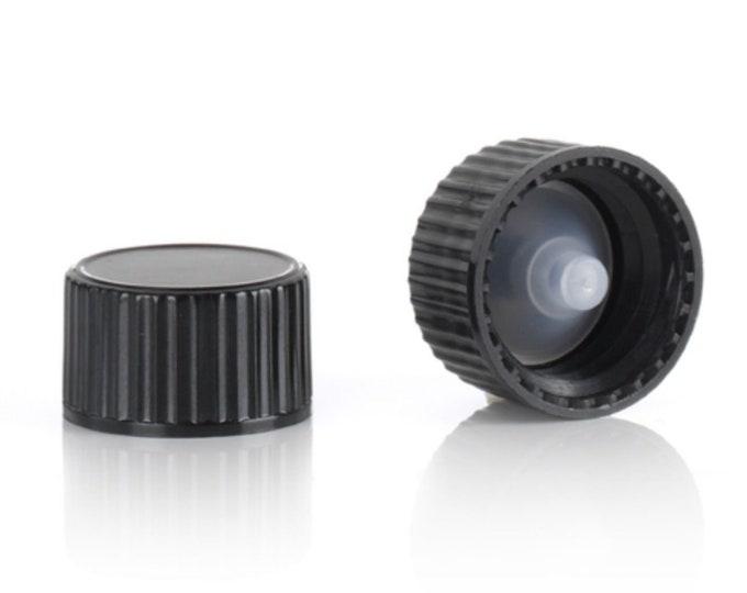 Magnakoys® Black 18-400 Polycone Thread Closure Twist Screw Caps for Vials