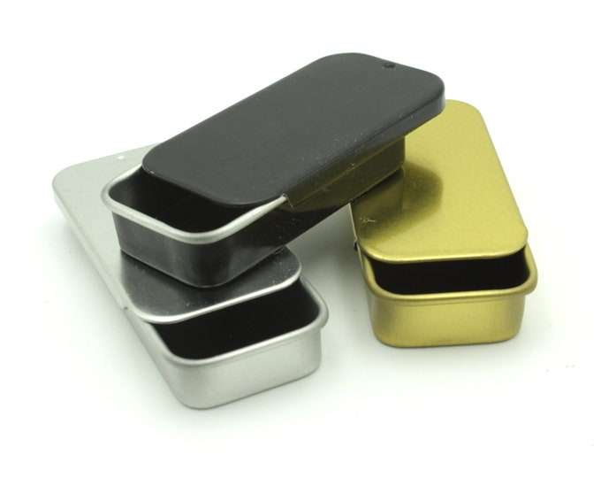 MagnaKoys® Small Black Gold & Silver Combo Rectangular Metal Tins with Slider Tops for Crafts Survival Gear Geocaching