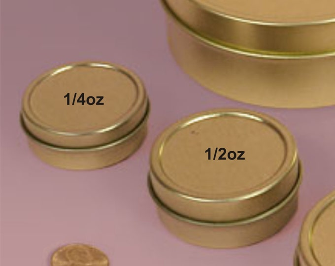 MagnaKoys Small 1/4oz Empty Gold Slide Top Round Tin Containers for Lip Balm, Crafts, Cosmetic, Candles, Pocket size