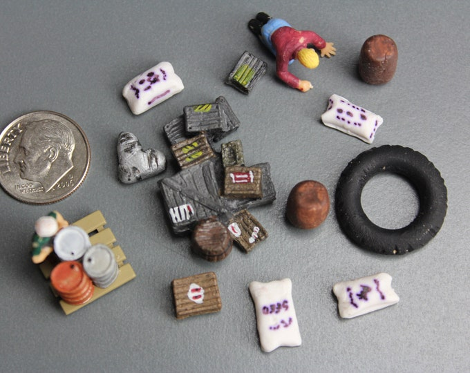 HO Scale Scenery Tires Bags Crates and 2 Figures