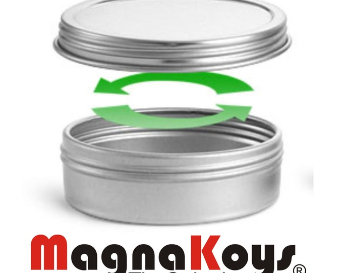 MagnaKoys® Silver Metal Tins w/ Top Lid Continuous Thread Cap craft Organizer Container 2 oz by MagnaKoys®