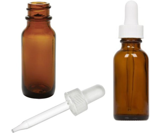 MagnaKoys® 1/2 oz (4 dram) Amber Vials w/ Straight White Bulb Eye Glass Droppers for Essential Oils & Liquids
