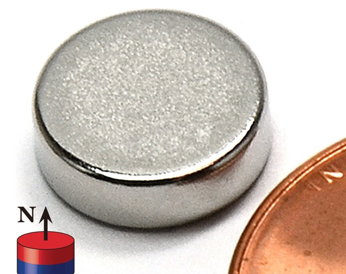 "MagnaKoys® 10mm x 3mm (3/8"" x 1/8"") Neodymium Rare Earth Disc Magnets for Crafts, Geocaching, dollhouses, & Survival Gear"