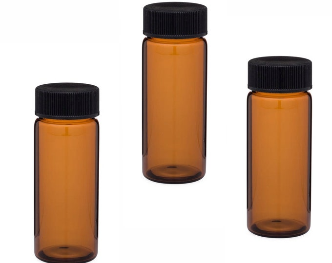 MagnaKoys 6 Dram Amber Glass Vials w/Black Caps for Essential Oils & Liquids (pack of 3)