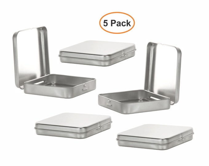MagnaKoys® Square Silver Metal Hinged Tins 3.5 x 3.5 x .70 Inches Boxes for Candy Storage Geocaching (5-Pack)