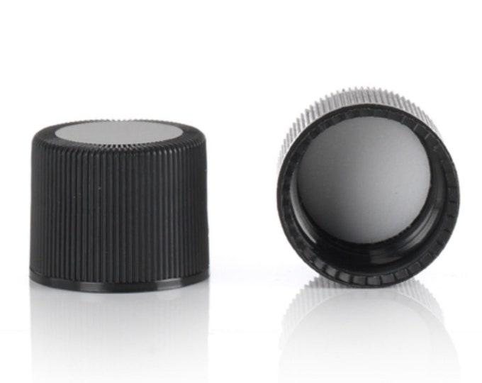 Magnakoys® Black 18-415 Continuous Thread Closure w/ 14B Rubber Liner Twist Screw Caps for Vials