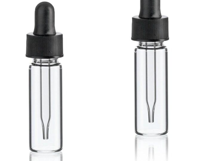 MagnaKoys® 1 Dram 1/8 oz Clear Glass Vials w/ Straight Black Bulb Eye Glass Droppers for Essential Oils & Liquids