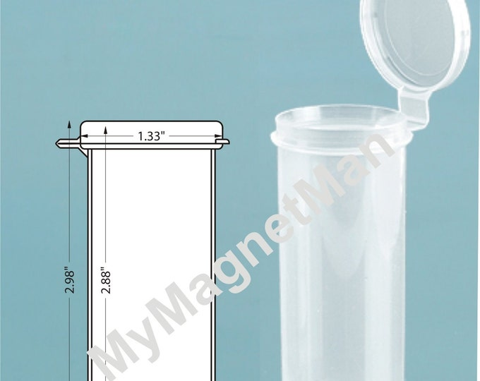 "MagnaKoys® 3"" Clear 1.5oz Polypro Plastic Craft Storage Vials with Attached Hinged Lid Containers"