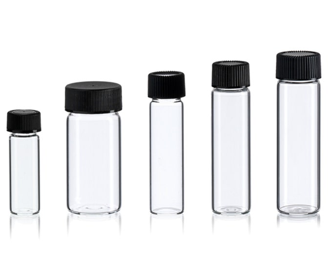 Magnakoys Empty Clear Vial Bottle Assortment w/ Caps for dry goods, essential oils, perfumes, and other liquids